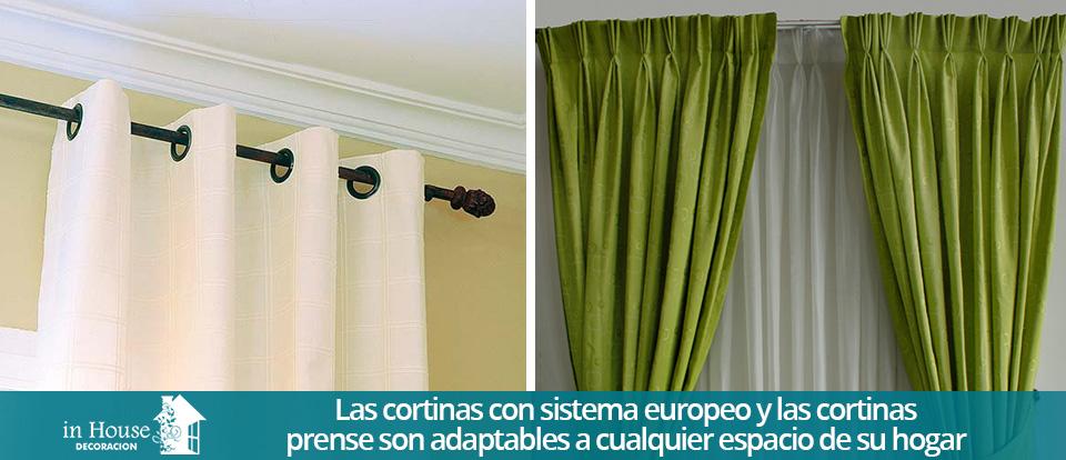 cortinas clsicas con sistema europeo y prense en color blanco y verde